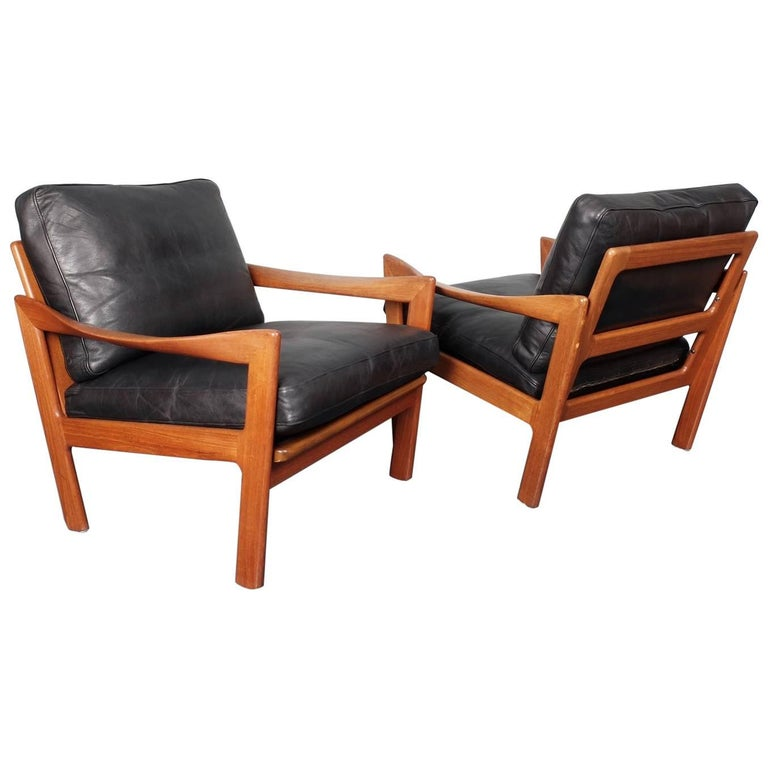 Illum Wikkelsø, Teak and Leather Danish 1960s Midcentury Lounge Chairs
