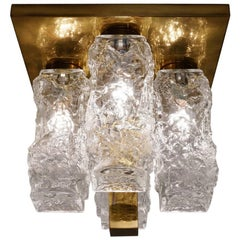 Kalmar Ceiling Light Brutalist Glass & Brass Kalmar, Hillebrand, Austrian