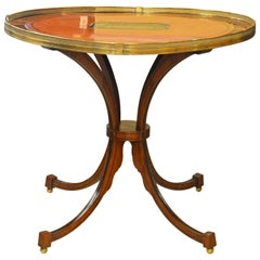 Superior English Regency Satinwood, Mahogany & Ebony Parquetry Oval Center Table
