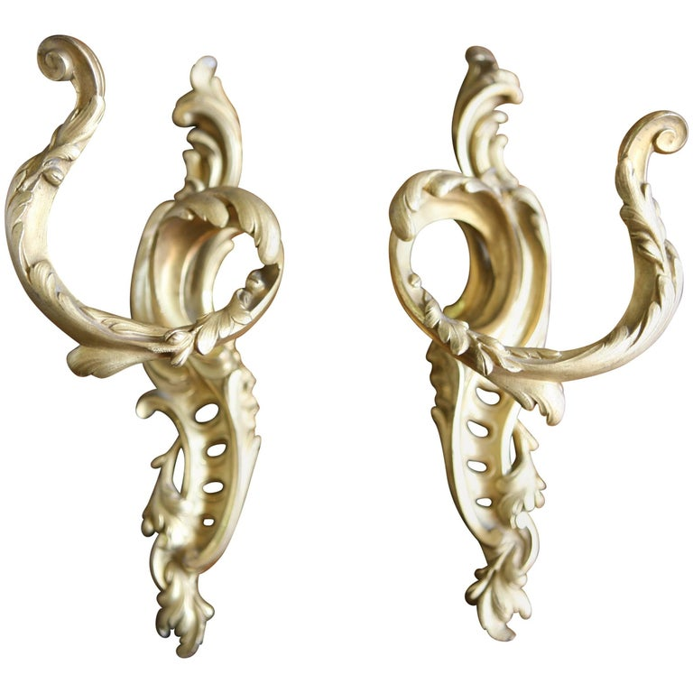 19th Century French Pair of Bronze Door Handles, Signed P.D. For Sale