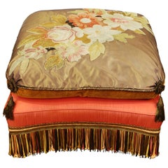 Victorian Ottoman with Needlework and Upholstery