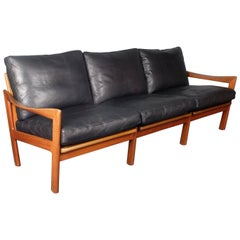 Illum Wikkelsø for Eilersen, 1960s Danish Teak and Black Leather Sofa