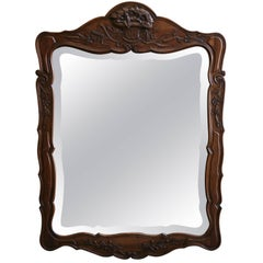 19th Century Walnut Hand-Carved Mirror in Louis XV Style