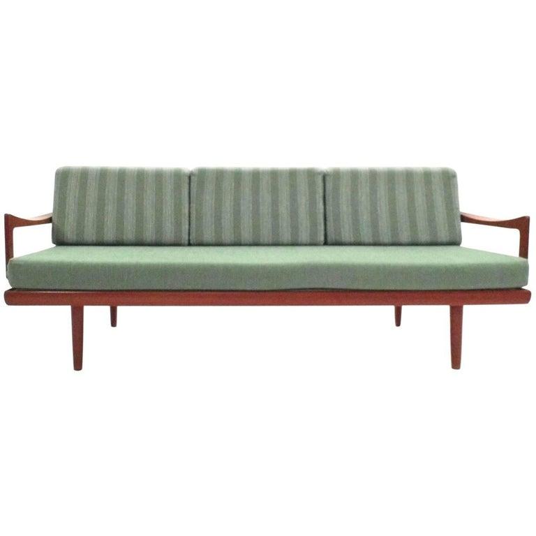 Danish Tove & Kindt-Larsen Green Wool & Teak Sofa Daybed Midcentury 1950s
