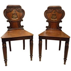 Good Pair of Mahogany William IV Period Antique Hall Chairs