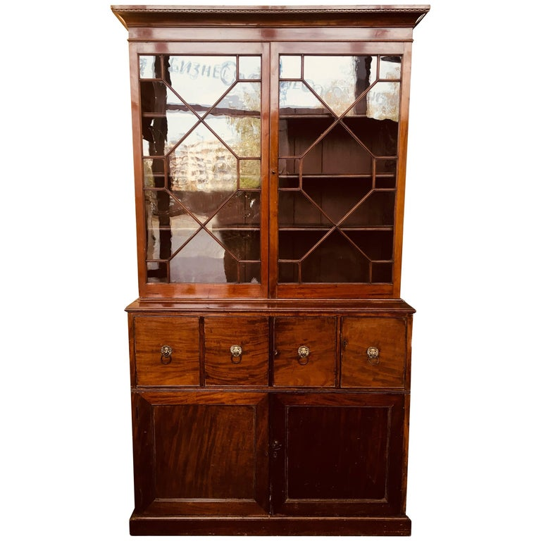 Late 19th Century English Mahogany Breakfront Bookcase Cabinet