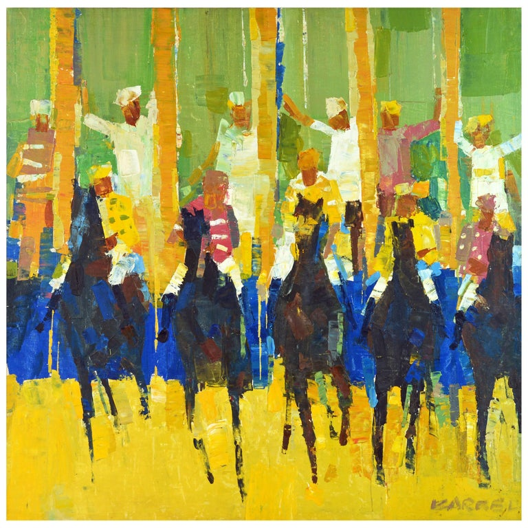 'Start of the Horse Race' Midcentury Oil Painting by George Barrel For Sale