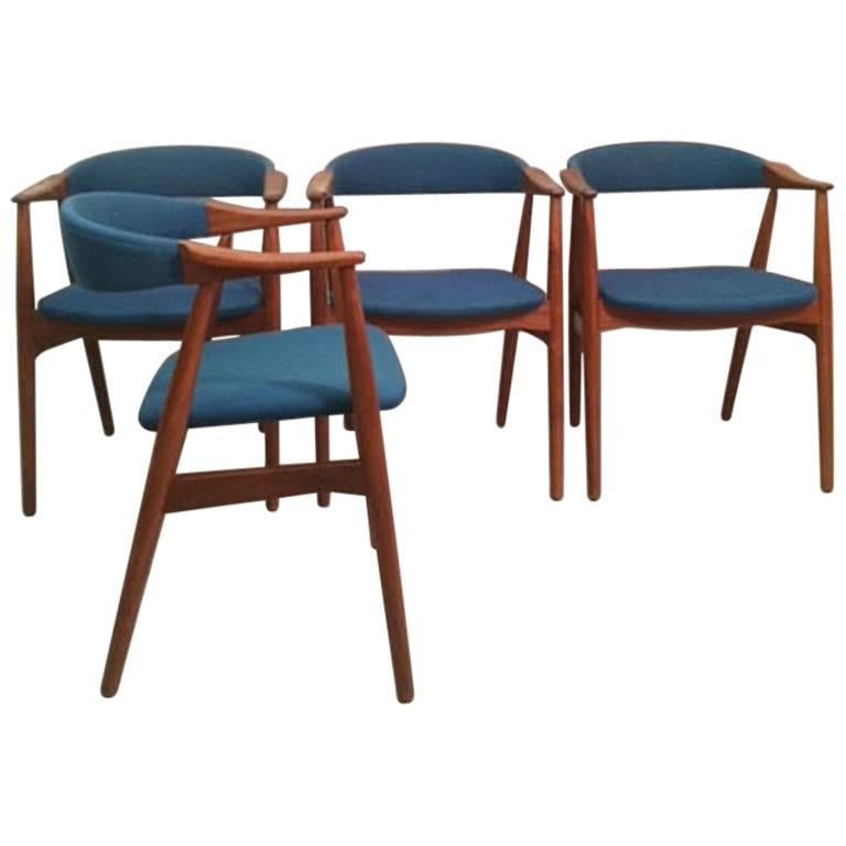 1950s Th. Harlev Set of Four Model 213 Armchair in Teak and Blue Fabric