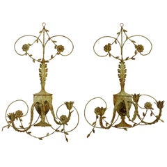 Pair of Lovely Midcentury Italian Cottage Style Painted Wall Sconces