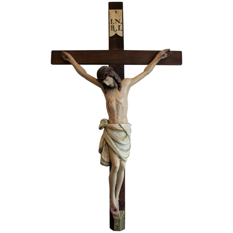 Early 19th Century European Hand Carved and Polychromed Wood Crucifix