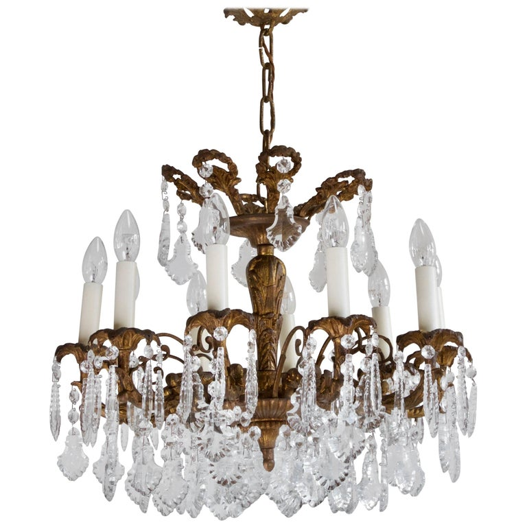 Early 1900s French Bronze Gilt Chandelier