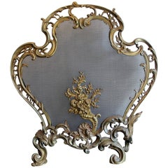 19th Century Louis XV Style Gilt Bronze Rococo Fire Screen