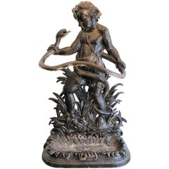 English Cast Iron Umbrella Stand Depicting the Baby Hercules