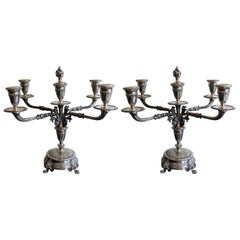 Pair of 19th Century Continental Silver Candelabra