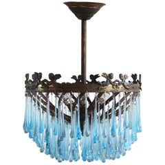 1920s Spiral Waterfall Chandelier with Contemporary Teardrops