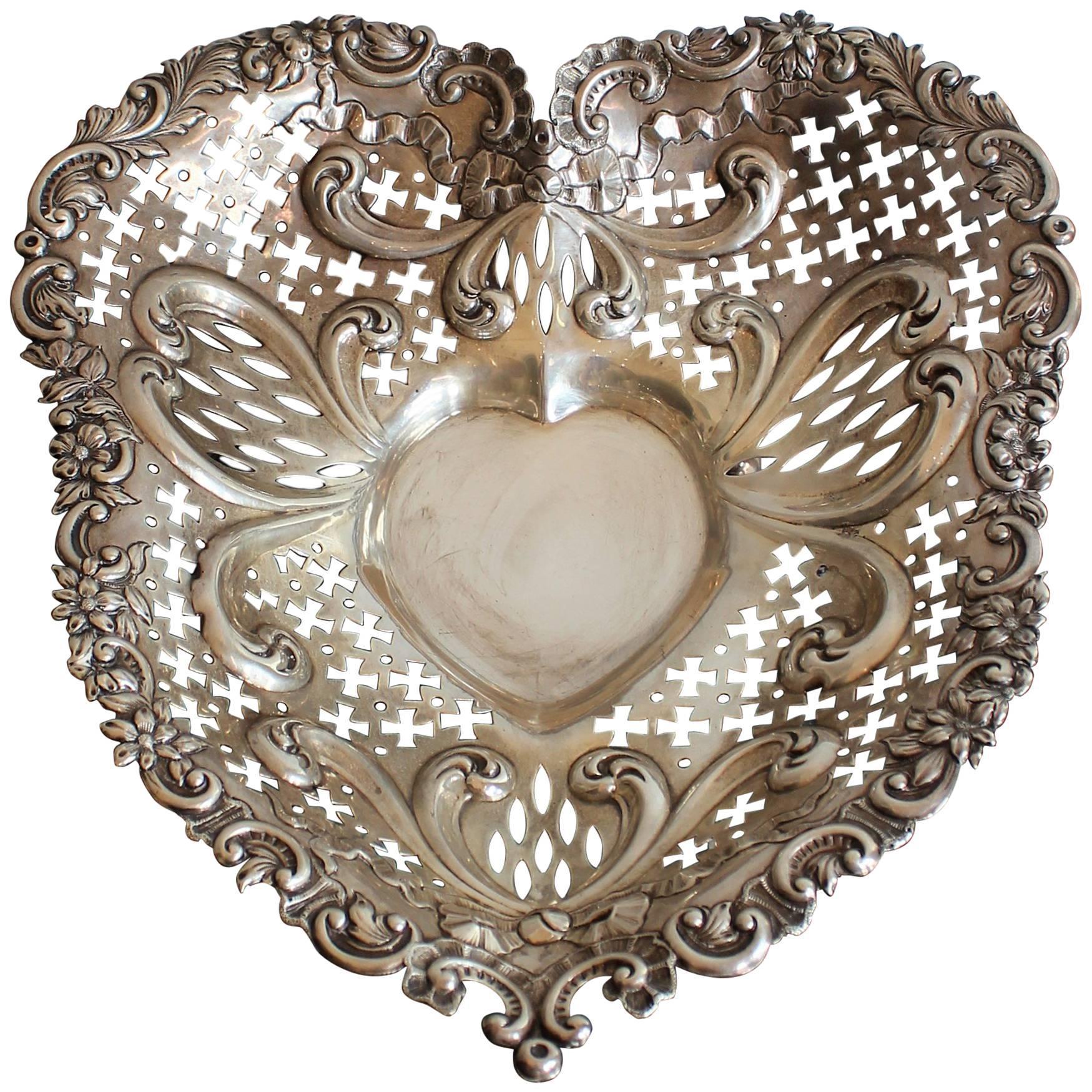 Gorham Pierced Sterling Silver Heart Shaped Basket