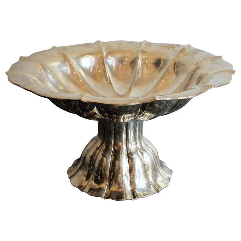 Secessionist Hand Hammered Continental  Silver Compote For Sale
