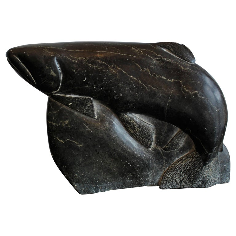 Inuit Eskimo Soapstone Carving Hunter Seal 1960: Inuit Soapstone Fish Carving For Sale At 1stdibs