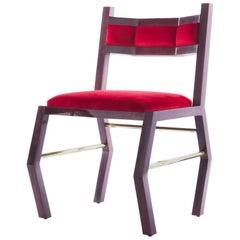 21st Century Custom Contemporary Solid Purple Heart Wood, Brass & Velvet Chair