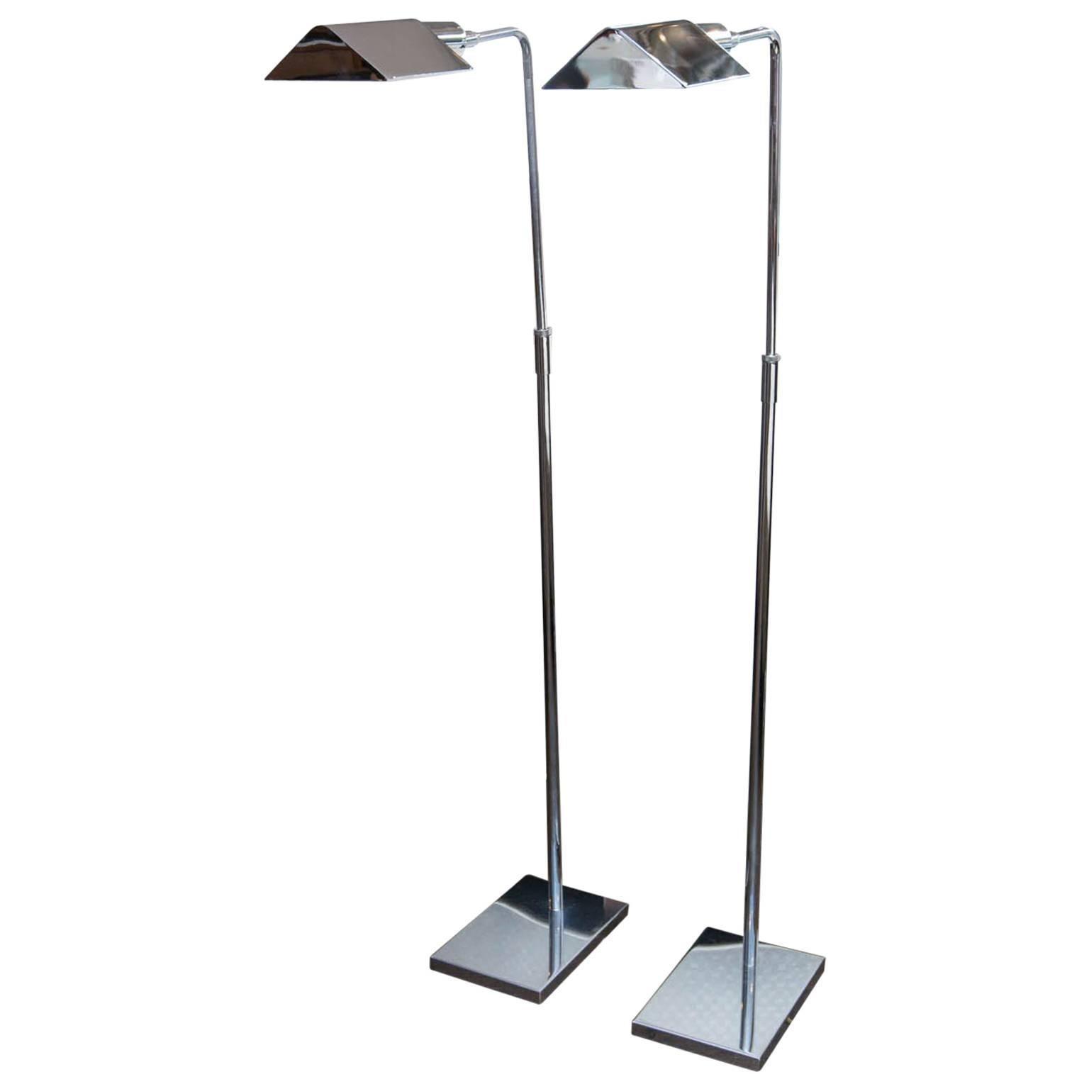 Pair Of Koch U0026 Lowy Chrome Adjustable Floor Lamps 1