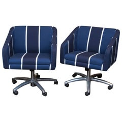 Pair of Upholstered Swivel Office Chairs