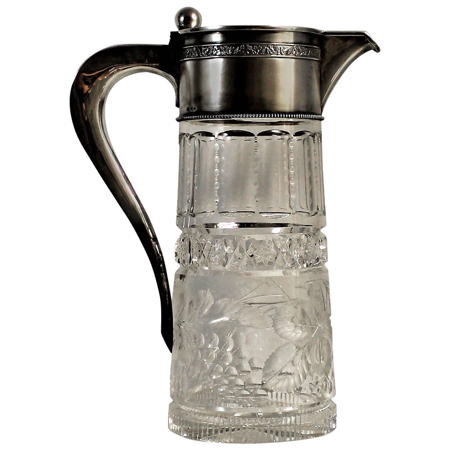 19th Century Continental Silver and Cut Crystal Pitcher
