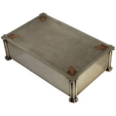 English Arts & Crafts Sterling Silver Box with Copper Mounts