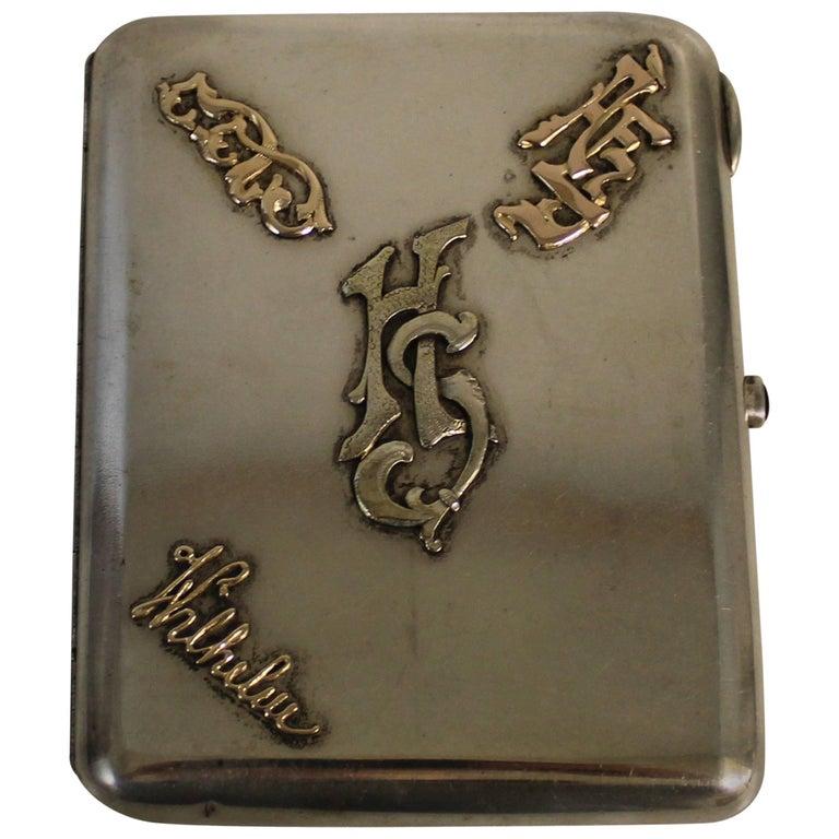 Russian Tsarist Silver and Gold Cigarette Case