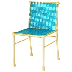 Contemporary Solid Brass Chair With Hand Woven Blue Cane
