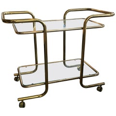 Tubular Brass and Glass Bar Cart