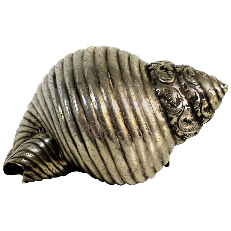 19th Century Persian Silver Decorative Seashell For Sale