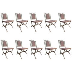 Distressed Iron and Steel Dining Chairs, Set of Ten