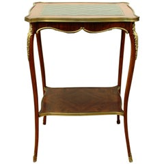 19th Century Wooden Side Table with Shelf and Green Leather Top
