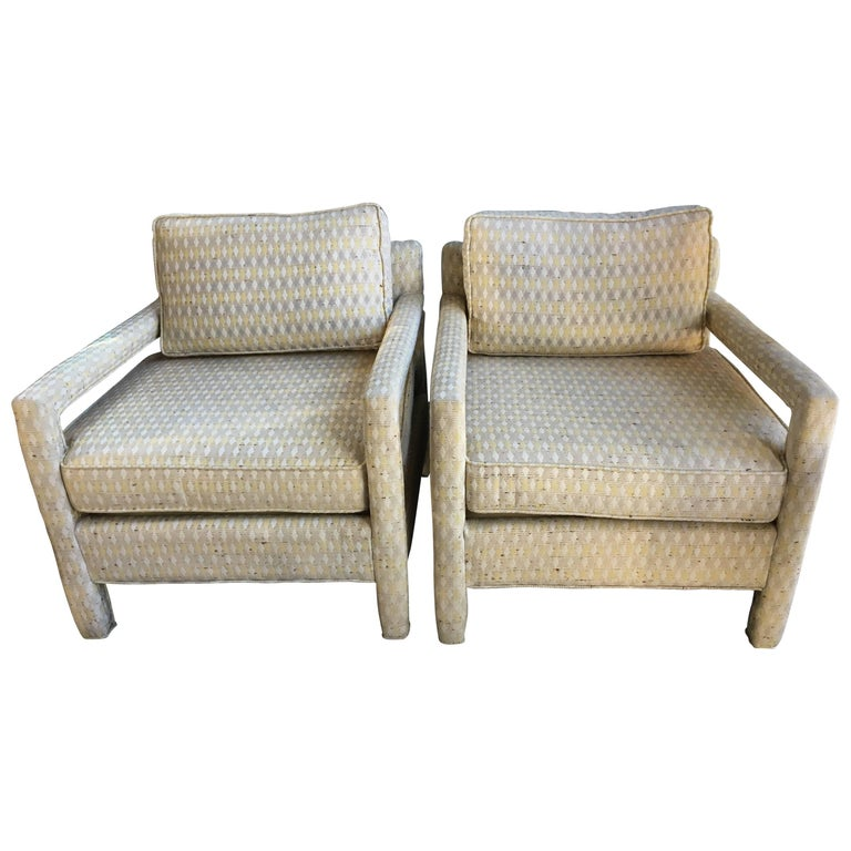Pair of Milo Baughman Parsons Club Chairs, Original Upholstery