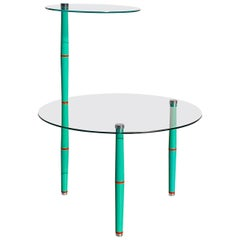 Glass Side Table with Bright Colored Legs, Mid-20th Century, Italy