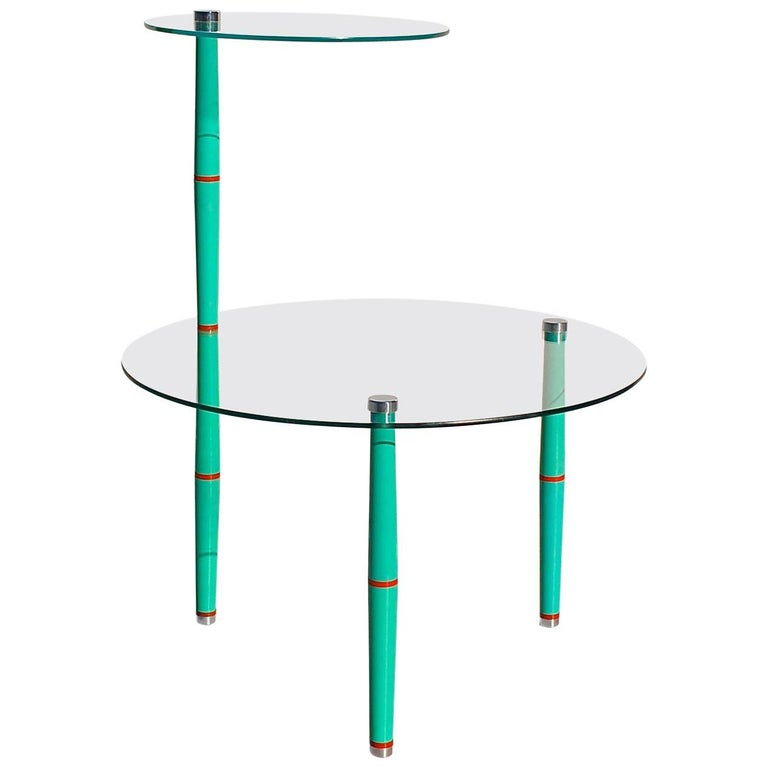 Glass side table with bright colored legs mid 20th for Bright colored side tables