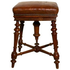Rare French Square Walnut and Leather Revolving Piano Stool