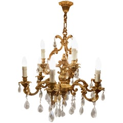 Charming Large French Crystal and Brass Nine-Branch Chandelier