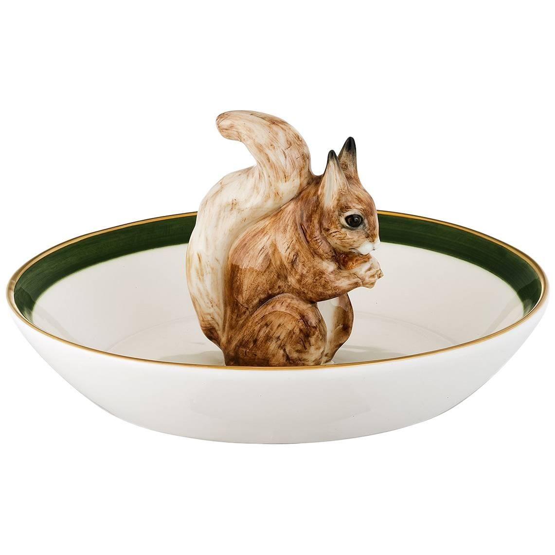 Black Forest Hand Painted Porcelain Bowl With Squirrel Figure