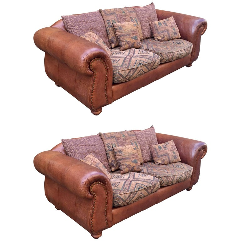 20th Century Pair of Leather Sofas Chesterfield