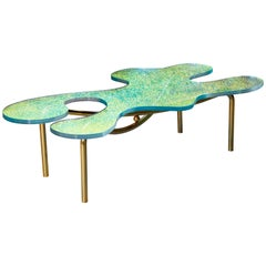 Contemporary Brass Coffee Table With Dichroic Multi Colour Glass