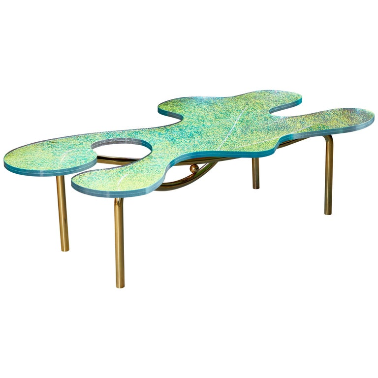 Contemporary Brass Coffee Table With Dichroic Multi Colour Glass For Sale