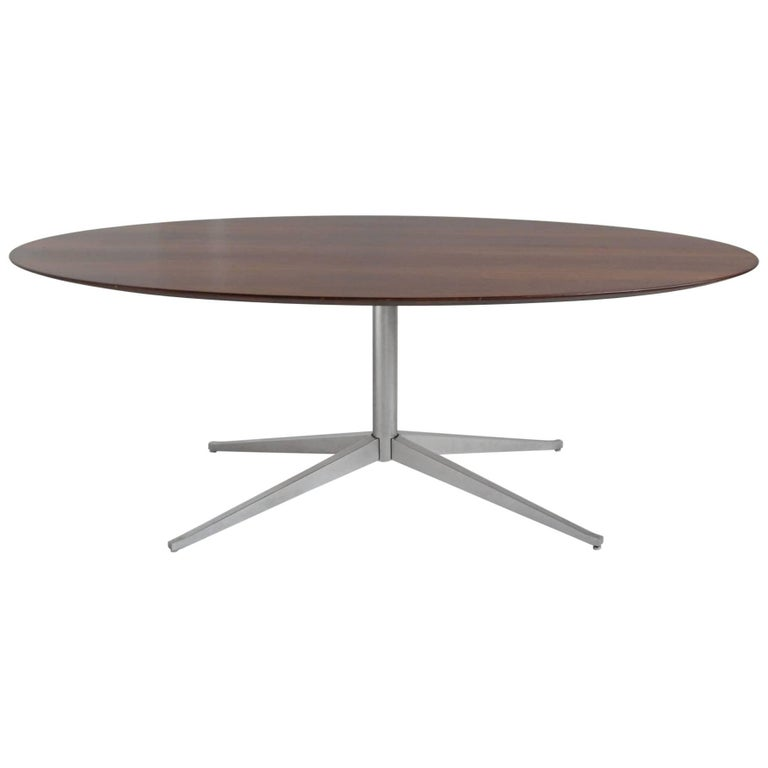 Florence Knoll Rosewood Elliptical Dining or Conference Table For Sale