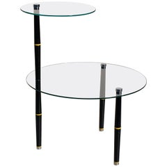 Glass Side Table with Black Colored Legs, Mid-20th Century, Italy