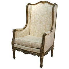 French Louis XVI Style Giltwood Bergère Armchair