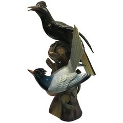 Portuguese Porcelain Sculpture of Hoope Birds by Vista Alegre