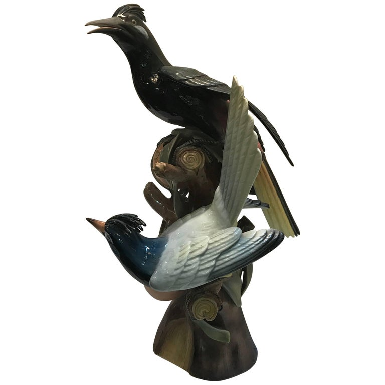 Portuguese Porcelain Sculpture of Hoope Birds by Vista Alegre