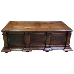 19th Century Rustic Bench Coffer Oak