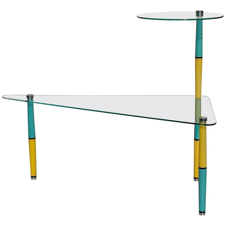 Triangular glass side table with bright colored legs mid for Bright colored side tables