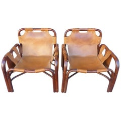 Beautiful Pair of  Italian Leather Armchairs, circa 1960